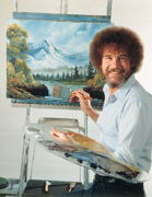 Bob Ross at his easel.